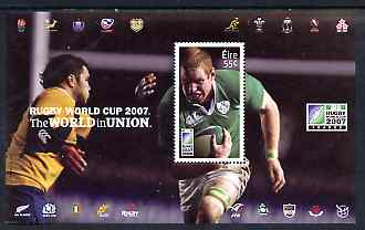 Ireland 2007 Rugby World Cup 55c perf m/sheet (Paul O'Connell) unmounted mint