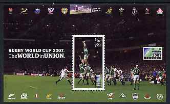 Ireland 2007 Rugby World Cup 78c perf m/sheet (Players) unmounted mint