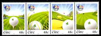 Ireland 2007 The Ryder Cup perf strip of 4 unmounted mint
