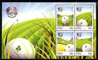 Ireland 2007 The Ryder Cup perf m/sheet containing set of 4 unmounted mint