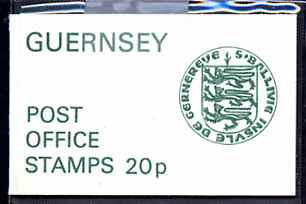 Booklet - Guernsey 1977 Arms 20p booklet (green on white cover in plastic wallet) SG SB15