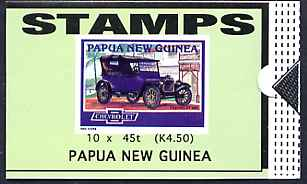 Booklet - Papua New Guinea 1994 Historic Cars 4K50 booklet containing 10 x 45t stamps (Chevrolet 490) unused SG SB11