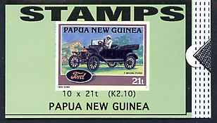 Booklet - Papua New Guinea 1994 Historic Cars 2K10 booklet containing 10 x 21t stamps (Ford Model T) unused SG SB10