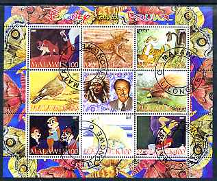 Malawi 2007 Disny & Fauna #2 perf sheetlet containing 8 values plus label fine cto used