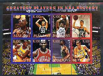 Malawi 2007 Basketball Greatest Players in NBA History perf sheetlet containing 8 values fine cto used