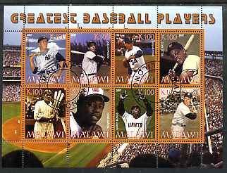Malawi 2007 Greatest Baseball Players perf sheetlet containing 8 values fine cto used