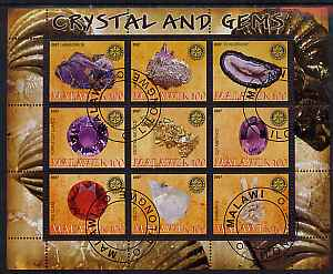 Malawi 2007 Crystal & Gems perf sheetlet containing 9 values fine cto used