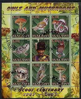 Malawi 2007 Owls & Mushrooms perf sheetlet containing 8 values plus label (Scout Centenary) fine cto used