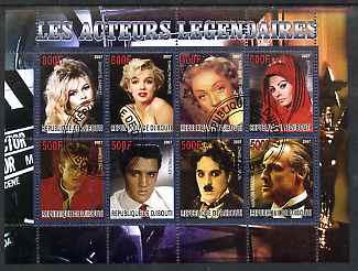 Djibouti 2007 Legendary Actors perf sheetlet containing 8 values fine cto used (Bardot, Marilyn, M Dietrich, S Loren, James dean, Elvis, Chaplin & M Brando)
