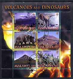 Malawi 2007 Volcanoes & Dinosaurs #1 perf sheetlet containing 6 values each with Scout Logo fine cto used