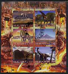Malawi 2007 Volcanoes & Dinosaurs #2 perf sheetlet containing 6 values each with Scout Logo fine cto used
