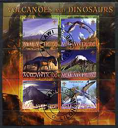 Malawi 2007 Volcanoes & Dinosaurs #3 perf sheetlet containing 6 values each with Scout Logo fine cto used