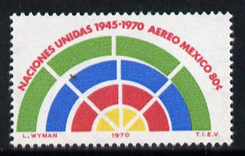 Mexico 1970 UN 25th Anniversary 80c unmounted mint with fine shift of green, SG 1214*