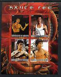 Djibouti 2007 Bruce Lee perf sheetlet containing 4 values fine cto used
