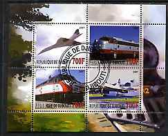 Djibouti 2007 Railways & Concorde #3 perf sheetlet containing 4 values fine cto used