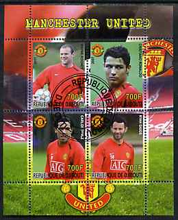 Djibouti 2007 Manchester United perf sheetlet containing 4 values fine cto used