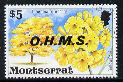 Montserrat 1976 Official $5 Yellow Poui Tree def opt'd OHMS with wmk sideways inverted (SG O15Ei) superb cds used*