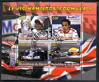 Benin 2007 Lewis Hamilton Formula 1 perf sheetlet containing 4 values fine cto used