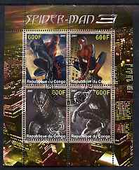 Congo 2007 Spiderman perf sheetlet containing 4 values fine cto used