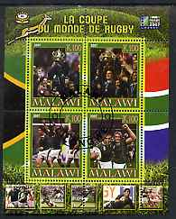 Malawi 2007 World Cup Rugby perf sheetlet containing 4 values fine cto used