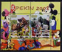 Benin 2007 Beijing Olympic Games #01 - Show Jumping (1) perf s/sheet containing 2 values (Disney characters in background) fine cto used