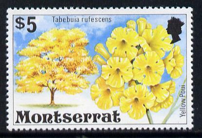 Montserrat 1976 Yellow Poui Tree $5 def with wmk sideways inverted (SG 384Ei)*
