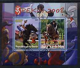 Benin 2007 Beijing Olympic Games #03 - Show Jumping (3) perf s/sheet containing 2 values (Disney characters in background) fine cto used