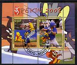 Benin 2007 Beijing Olympic Games #07 - Baseball (1) perf s/sheet containing 2 values (Disney characters in background) fine cto used
