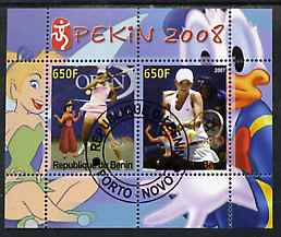 Benin 2007 Beijing Olympic Games #11 - Tennis (2) perf s/sheet containing 2 values (Disney characters in background) fine cto used