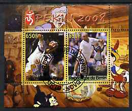Benin 2007 Beijing Olympic Games #12 - Tennis (3) perf s/sheet containing 2 values (Disney characters in background) fine cto used