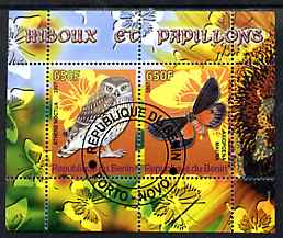 Benin 2007 Butterflies & Owls #1 perf s/sheet containing 2 values fine cto used