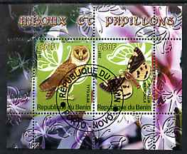 Benin 2007 Butterflies & Owls #3 perf s/sheet containing 2 values fine cto used