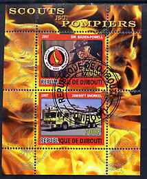 Djibouti 2007 Scouts & Fire Engines #1 perf s/sheet containing 2 values fine cto used
