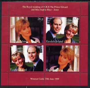Easdale 1999 Royal Wedding (Edward & Sophie) perf sheetlet containing 4 values unmounted mint
