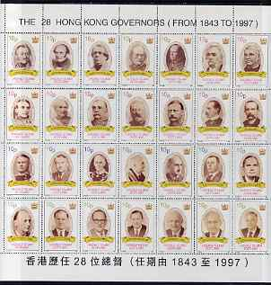 Easdale 1997 The 28 Governors of Hong Kong perf sheet containing 28 values unmounted mint (sheet folded along perfs)