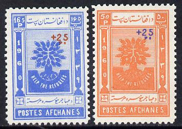 Afghanistan 1960 World Refugee Year surcharged set of 2 (perf) unmounted mint, SG 485-6*