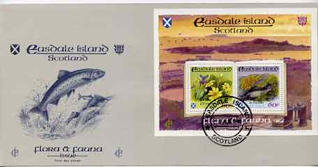 Easdale 1988 Flora & Fauna perf sheetlet containing 60p (Lichens) & 80p (Spring Flowers) on illustrated cover with first day cancel