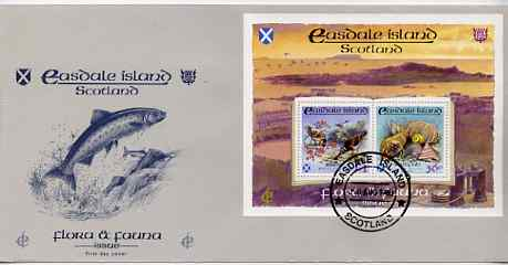Easdale 1988 Flora & Fauna perf sheetlet containing 36p (shell) & \A31 (Birds) on illustrated cover with first day cancel