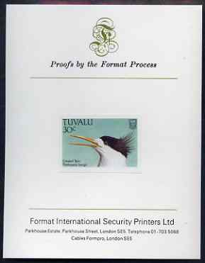Tuvalu 1988 Crested Tern 30c imperf proof mounted on Format International proof card
