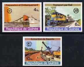 Guinea - Conakry 1974 Bauxite Mining imperf set of 3 from a limited printing unmounted mint as SG 843-45