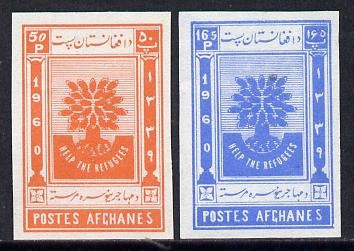 Afghanistan 1960 World Refugee Year set of 2 imperf unmounted mint, as SG 454-5*
