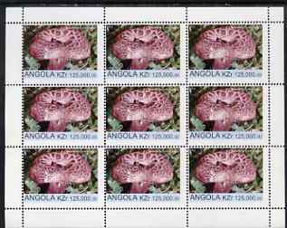 Angola 1999 Fungi 125,000k from Flora & Fauna def set complete perf sheet of 9 unmounted mint