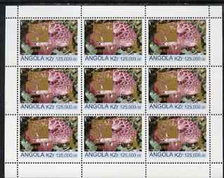 Angola 1999 Fungi 125,000k from Flora & Fauna def set complete perf sheet of 9 each opt'd in gold with France 99 Imprint with Chess Piece and inscribed Hobby Day, unmounted mint. Note this item is privately produced and is offered purely on its thematic appeal