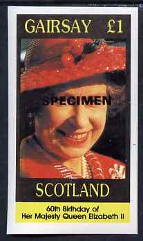 Gairsay 1986 Queen's 60th Birthday imperf souvenir sheet (\A31 value) opt'd SPECIMEN unmounted mint
