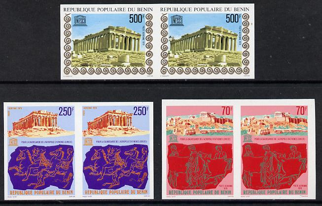 Benin 1978 UNESCO 'Acropolis' set of 3 in unmounted mint imperf pairs (as SG 713-5)*