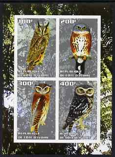 Ivory Coast 2003 Owls #1 imperf sheetlet containing 4 values unmounted mint