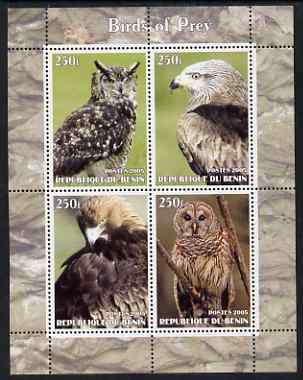Benin 2005 Birds of Prey perf sheetlet containing 4 values unmounted mint