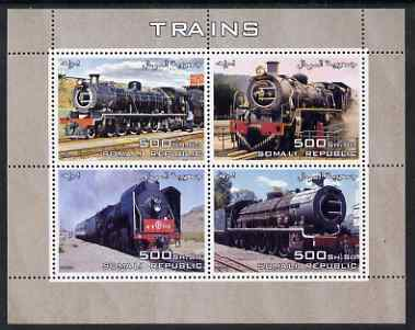 Somalia 2005 Steam Trains perf sheetlet containing 4 values unmounted mint