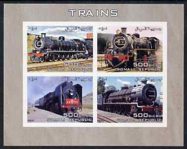 Somalia 2005 Steam Trains imperf sheetlet containing 4 values unmounted mint