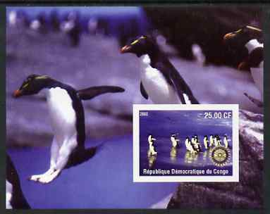 Congo 2002 Penguins #2 imperf m/sheet with Rotary Logo unmounted mint